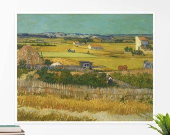 """Vincent Van Gogh, """"Harvest at La Crau"""". Art poster, art print, rolled canvas, art canvas, wall art, wall decor"""