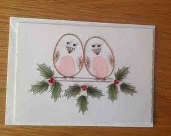 Hand Stitched Christmas Robin Card