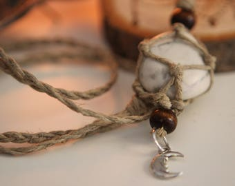 Howlite hemp wrapped necklace
