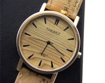 Cork watch with Natural with gold cork watch strap in a watch box birthday gift vegan present Wa-79