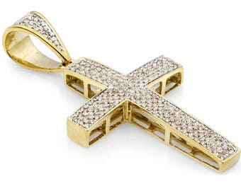 """Father""""s Day Jewelry 92.5 Sterling Silver 18k Gold Vermeil Pave Setting l.b shade diamond cross pendant jewelry men jewelry"""