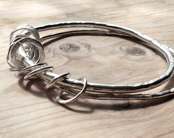 Sterling Silver Double Bangle/Handmade Bangle/Solid Sterling Silver Bangle/Custom Made/Gift for Her/Silversmith Jewellery/Artisan Jewellery