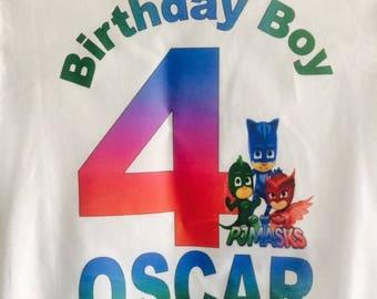 Pj-masks Birthday T-shirt,Boys Pj-Masks Shirt,Custom Birthday Top,boys birthday t-shirt,Any Age,Any Name.
