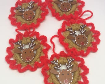 Reindeer Christmas Decorations set of 5