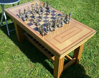 Bespoke Chess Table, Coffee Table,Chess Set,Chess Pieces Beautiful Piece Of  Furniture