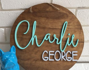35cm round custom name sign, personalised, wall hanging,