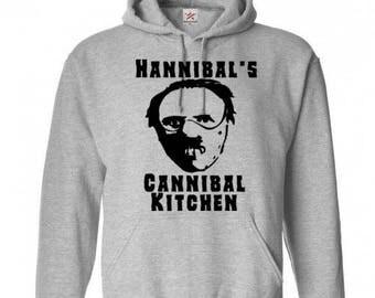 Hannibal Lector Cannibal Kitchen Unisex Hoodie Pullover Hooded Sweatshirt Many Sizes Colors Custom Horror Halloween Merch Massacre