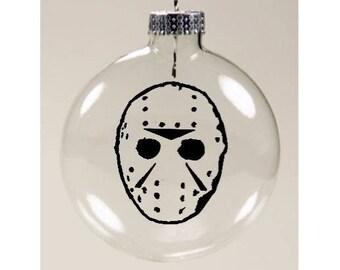 Jason Vorhees Mask Friday the 13th Christmas Ornament Glass Disc Holiday Horror Merch Massacre
