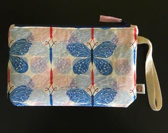 """Handmade small zipper purse for notions and accessories 8.5"""" x 5.5"""" *Butterflies butterflies*"""