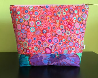 "Handmade large zipper pouch for knitting and crochet project 11.5"" x 7.5"" x 8.5"" x 3.5""  *KFC Coloursplash*"