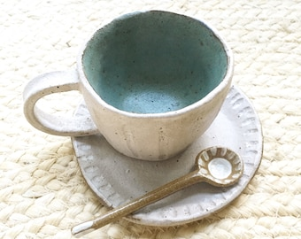 Handmade Cup, Saucer and spoon