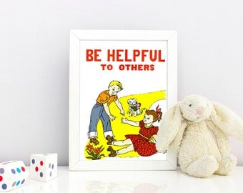 1950's Children's Good Manners Poster- Be Helpful to Others