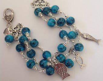 Turquoise 3 strand beaded bracelet charm bracelet blue bracelet beaded bracelet multi strand bracelet
