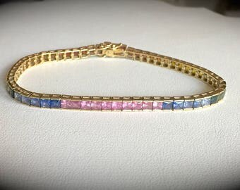 """12.50ct Rainbow Sapphire (Heat Treated only) Bracelet 9ct Yellow Gold  """"CERTIFIED AAAA"""" Beautiful Item!"""