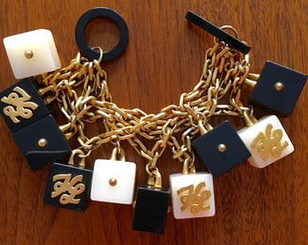 Stunning Vintage Black & Ivory Karl Lagerfield Square Charm, Gold Chain Link Bracelet