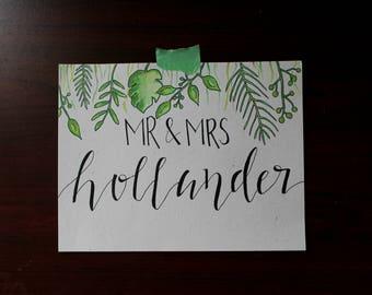 Custom Mr. and Mrs. Watercolor Leaf Design