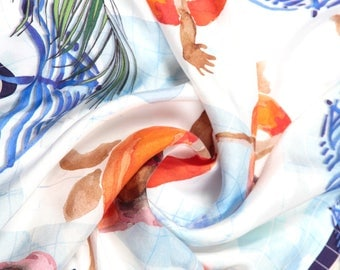 Pool-side Silk Scarf - 60 by 60 (Discounted)