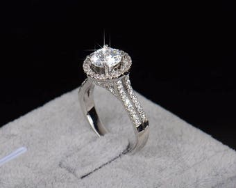 Cubic Zirconia Silver Plated Halo Ring