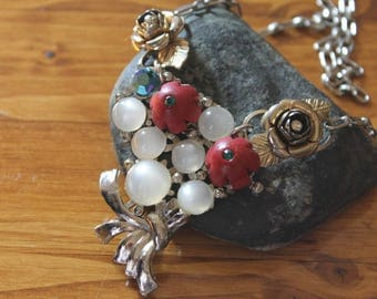 Handmade One of a Kind Vintage Necklace, Vintage Necklace, Handmade Necklace, Statement Necklace, Vintage Statement Necklace, Free Shipping