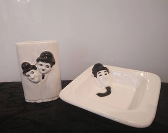 Vintage Laurel and Hardy Soap Dish ~ Toothbrush holder Bathroom Set ~ Bathroom Accessories