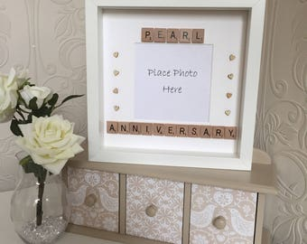 Scrabble Art Pearl Wedding Anniversary Picture Frame, Pearl Anniversary Frame, Pearl Wedding Anniversary, 30 Years Wedding Anniversary
