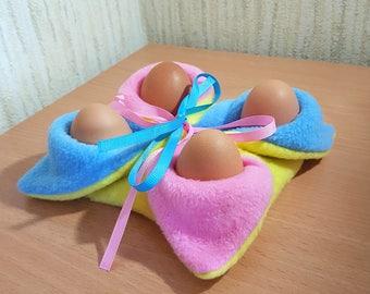 Easter fleece eggs holder. Easter decoration. Stand for eggs