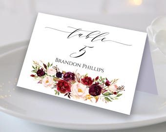 Wedding Place Cards Place Card Template Editable Reserved Seating Cards Folded and Flat Name Cards Floral Place Cards Tent Cards Boho Chic