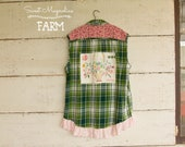 Flannel Sleeveless Shirt - Tunic - Size XL - XXL  - Boho Clothing - Upcycled - Green Pink Plaid Floral Flour Sack Vintage Embroidery Lace