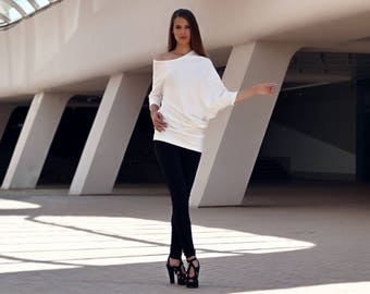 Asymmetrical Tunic, Off Shoulder Dress, Tunic Tops, Tunic Dress, Tunics, White Tunic, White blouse, Women blouse, Plus size blouse,Markiiza