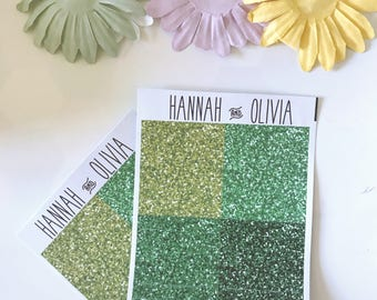 Glitter Headers - ECLP/Happy Planner - green Matte Stickers / Planner Stickers