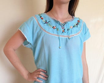 Robin's egg blue peasant blouse, floral embroidery
