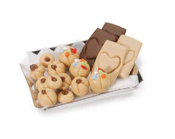 Dollhouse Miniature Assorted Cookie Tray. 1:12 Scale