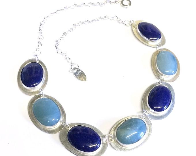 Lapis Lazuli and Amazonite Stone Set Necklace