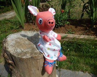 Pink pig puppet in her white dress - only one