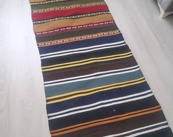 Runner Rug,Oushak Rug,Turkish rug,Vintage Runner kılım,2x8ft,Area Rug,Handmade geometrik rug,269×71cm,All color,Home living, Office decor