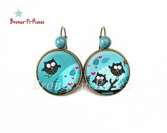 Earrings * Moonlight OWL * blue bronze sleepers owls red heart cabochon