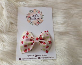 Strawberry Flower Bow, Faux Leather Bow, Baby Headband, Babygirl Headband, Bow on a Clip, Toddler Clip, Toddler Headband