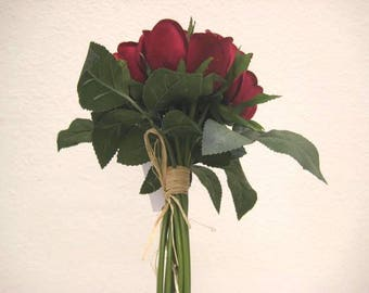 """RED Hand Tied Rose Bud 11"""" Bouquet Artificial Silk Flower 12-5606RD"""