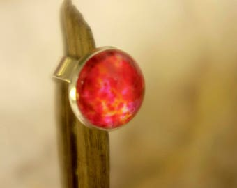 orange rose cabochon ring