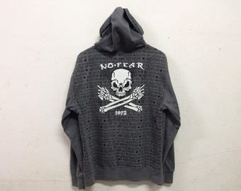 Rare No Fear full zipper with Skull big back logo