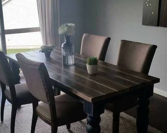 Blue Distressed English Cottage Table w/Rustic Gray Whitewashed Top (Table only)