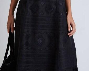 FREE Shipping! Black Midi Linen bohemian embroidered skirt - Vyshyvanka Ukrainian skirt Mexican style - Ethnic embroidery Ukrainian clothing