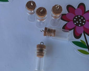 Mini Glass Vile, charm, corktop,small