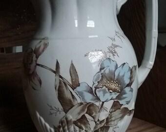 SALE! - Ironstone pitcher, C. Challinor & Co, floral pitcher