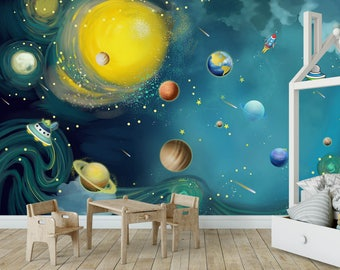 Fantastic Blue Space Kids Wallpaper Nursery Wall Mural Peel And Stick  Removable Baby Bedroom Wall Art Part 75