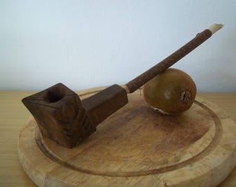 pipa in legno dinoce nero e kiwi - smoking pipe handcarved in black walnut and kiwi