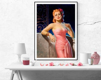 Art Frahm Red Haired Pin up Beauty Girl Pink Dress Vintage Art Poster Print Canvas Wall Art Painting Home decor pinup size A2/A3/A4