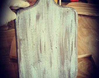 Distressed, worn, vintage, shabby chic, kitchen,  hanging bread board