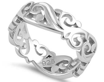 Sterling Silver - Thick Vine Band