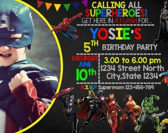 Superhero Inspired Invitation Birthday Party - JRI 53